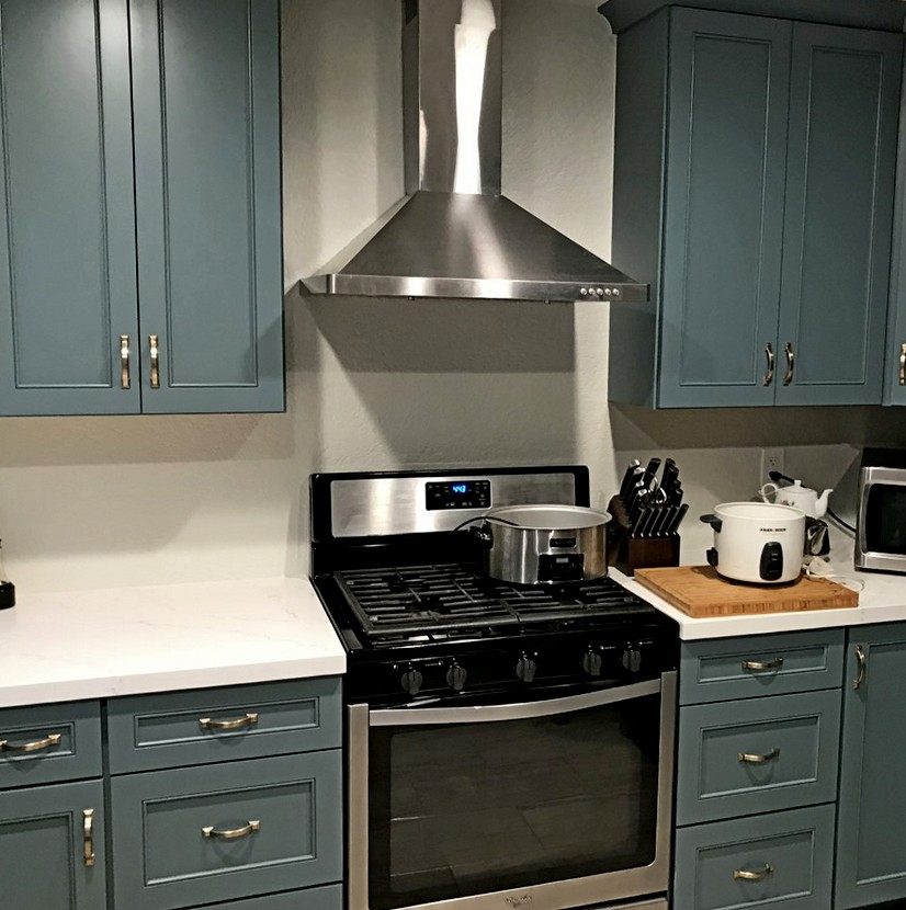 Cabinets from Diamond Reflections with Clarke Maple Square in Seaside.