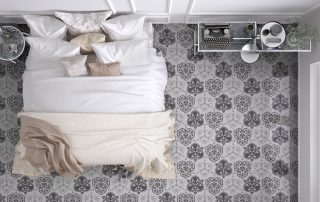 Classic,Bedroom,,Top,View,,With,Marble,Old,Vintage,Gray,Tiles,