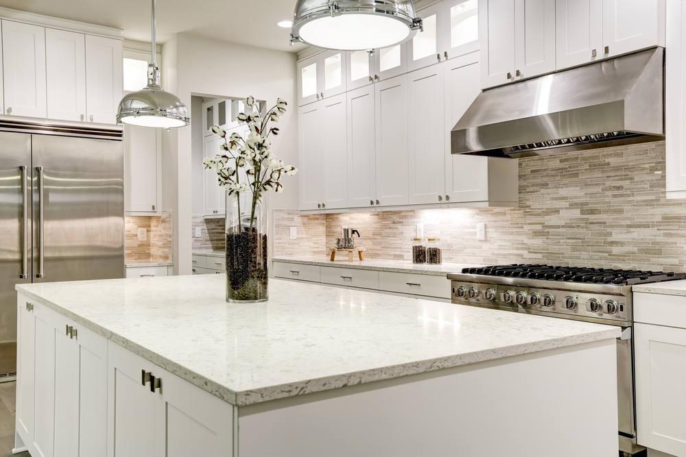Elegant, white kitchen countertop